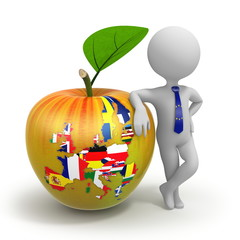 Apple with European Union map, flags and businessman