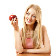 happy teeny girl with red apple