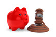 Judicial gavel and piggy bank