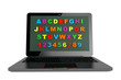 ABC Learn Computer concept. Modern Laptop with alphabet