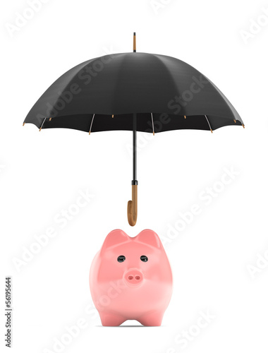 Wealth protection concept. Piggy Bank under umbrella