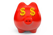 Piggy Bank with USD sign as Eyes