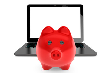 Accumulation of information Concept. Moder Laptop with Piggy Ban
