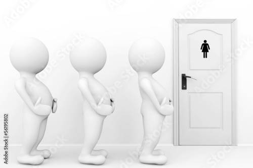 3d persons womans need a toilet