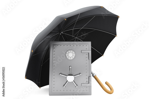 Safety Bank Concept. Safe under the umbrella
