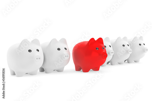 Right investment concept.  Piggy Bank in row