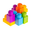 Plastic building blocks on background