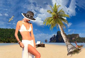Woman on the beach on Ko Phi Phi island