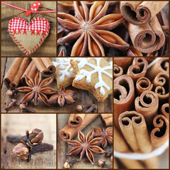 Christmas cookie baking and ingredients collage