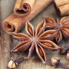 Christmas spices - star anise, cloves and cinnamon