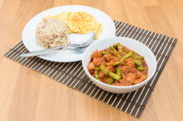 Extremely hot stir fried string bean with pork have rice and ome