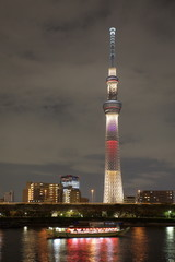 View of Tokyo Sky Tree with summer light up