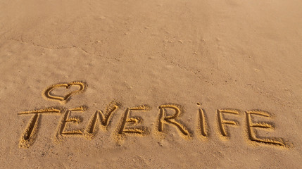 beach sand with written word Tenerife