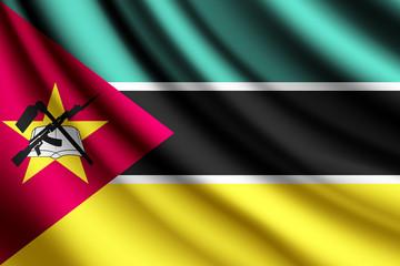 Waving flag of Mozambique, vector