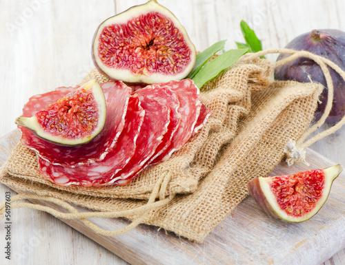 fresh figs and salami