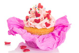 Vanilla cupcake with pink frosting and red hearts
