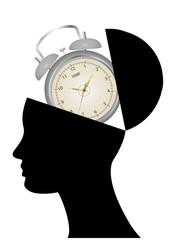 alarm clock open head