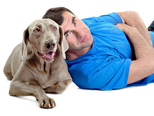 Happy man with his dog