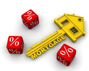 Ипотека. Ключ от дома и красные кубики с процентами