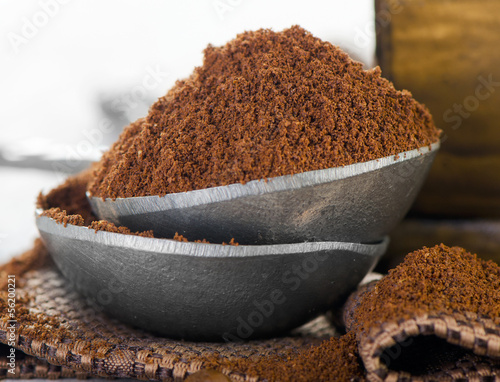 Ground coffee heap