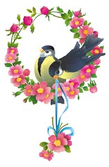 wreath of flowers with two birds