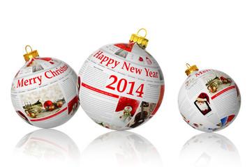 Newspaper Christmas balls on white background