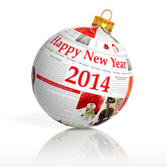 Newspaper happy new year 2014 ball on white background