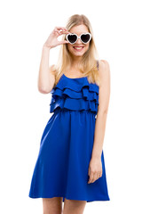 Woman in blue with sunglasses
