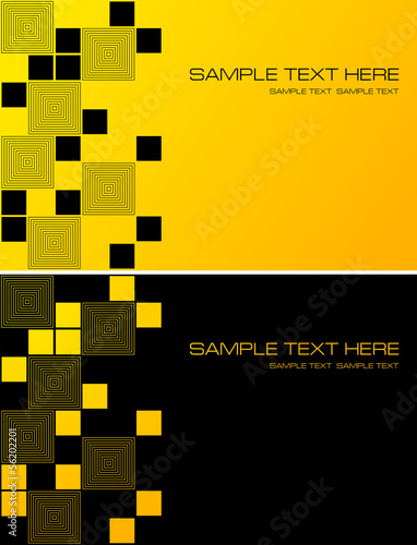 Yellow and black abstract background with squares