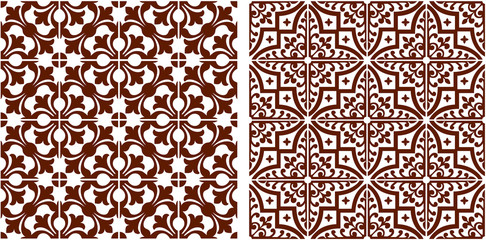 Oriental seamless graphic abstract pattern brown color