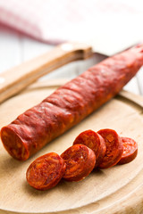 sliced tasty chorizo sausage