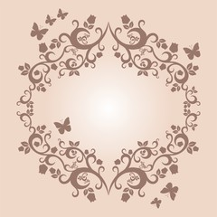 brown or fallow beautiful illustration of floral ornament