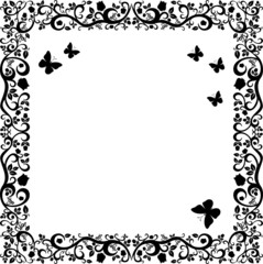 black white beautiful illustration of floral ornament