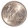 One US Quarter coin - state of massachusetts
