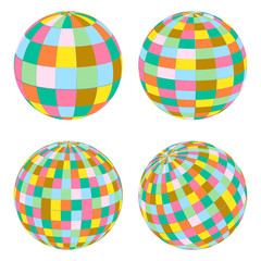 Disco balls set retro vector background