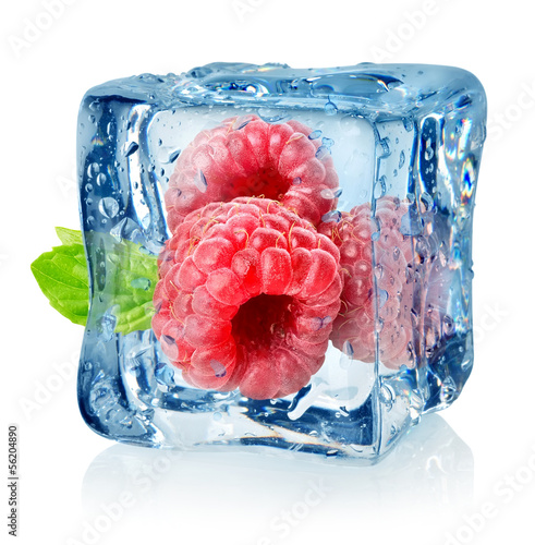Ice cube and raspberries isolated - 56204890