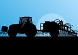 Agriculture tractor spraying pesticides in cultivated country gr poster