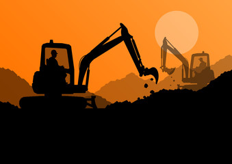 Excavator loaders and workers digging at construction site with