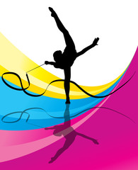 Teenager gymnastics with ribbon vector abstract background