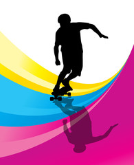 Skateboarders detailed silhouettes vector background concept
