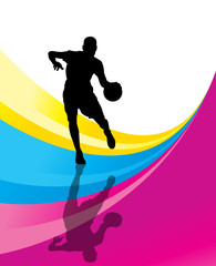 Basketball player vector abstract background concept