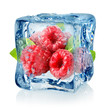 Ice cube and raspberries