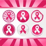 Sticker and Buttons with Pink Ribbons