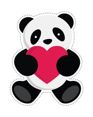 Panda holding a heart. Vector illustration