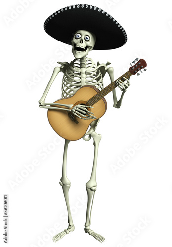 3d cartoon skeleton Mariachi