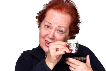 Senior Woman with a Turkish Coffee