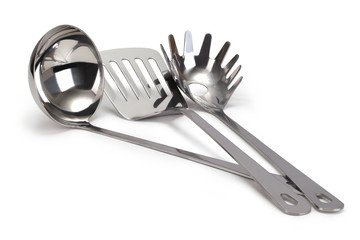set of stainless steel kitchenware