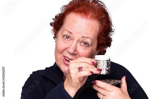 Senior Woman with a Turkish Coffee