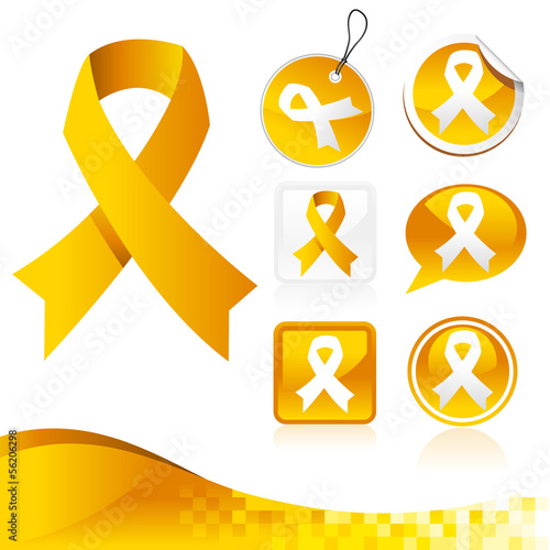 Yellow Awareness Ribbons Kit
