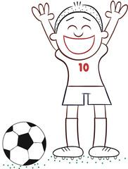 Cartoon Soccer Player Happy